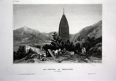 1840 - Tempel Mahadeo Besucher Indien India Asien Asia engraving Stahlstich