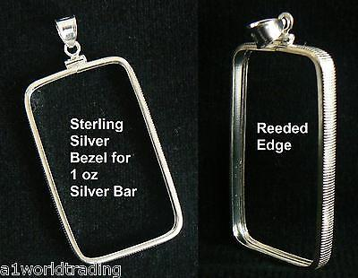 .925 STERLING SILVER BEZEL FITS ONLY 1 oz PAMP SILVER BAR 27 x 47 mm NO RETURNS