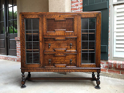 Antique English Tiger Oak Bookcase Secretary Barley Twist Leaded Glass Jacobean