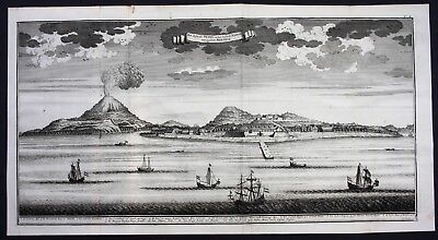 1726 Neira island Banda islands Indonesia Asia map engraving Valentijn Panorama