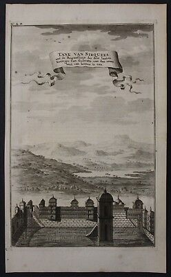 1726 India Gujarat temple water tanks engraving map Valentijn