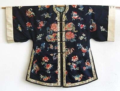 Fine Old Chinese Embroidered Blue Silk Forbidden Stitch Antique Imperial Robe