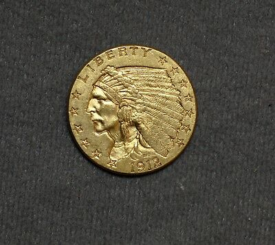 Very Nice Early 1912 US $2 1/2 Dollar 90% Gold Indian 1/4 Eagle Coin No Reserve