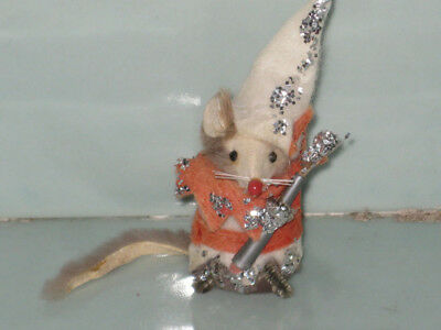 Vintage Original Fur Toy Mouse Germany Clown Royal Jester Original Tag