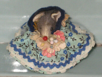 Vintage Original Fur Toy Mouse Germany Southern Belle Calico Dress Original Tag