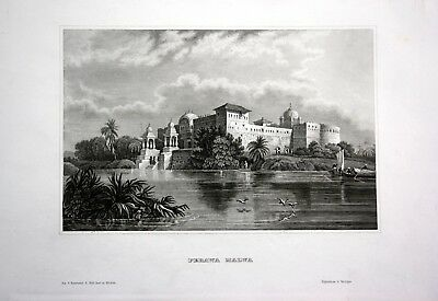 1840 - Palast Perawa Malwa Bengalen Indien India Asien engraving Stahlstich
