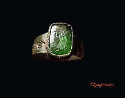 ** AMAZING ** Ancient BYZANTINE Bronze ring with Green stone ** VICTORY **