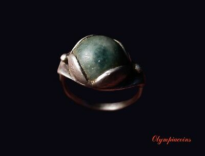 ** EXCELLENT ** Ancient BYZANTINE SILVER ring ** GREEN STONE **