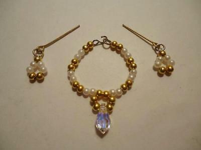 #57 BARBIE Doll Jewelry 3 Sizes White Pearls Necklace /& Dangle Earrings