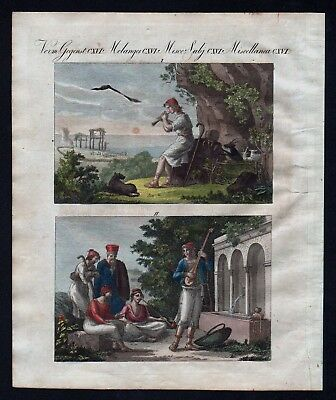 1800 - Greece costumes shepherd singer music engraving antique print Bertuch