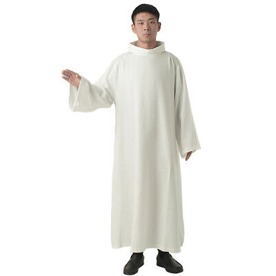 BLESSUME Mass Alb Catholic Priest Vestments Roll Collar Solid Clergy Robe 4Sizes