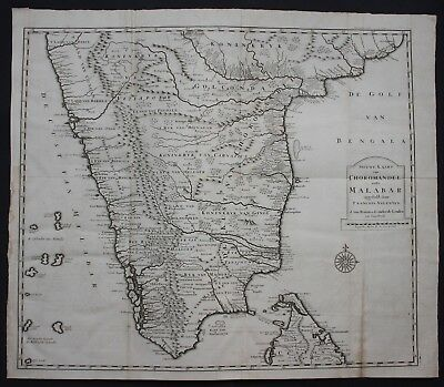 1726 India Indien Sri Lanka Ceylon map engraving Valentijn carte Asia Malabar