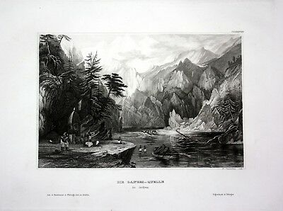 1840 - Ganges Quelle Fluss Indien India Asien Asia engraving Stahlstich