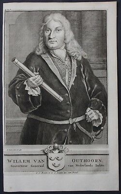 1726 Willem van Outhoorn Governor East Indies Portrait engraving Valentijn Asia