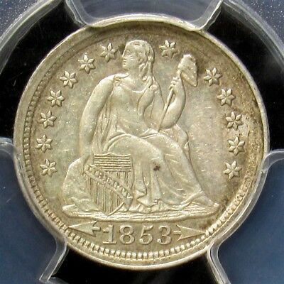 1853 Seated Liberty Dime - PCGS AU50 - Certified & Graded Silver with Arrows