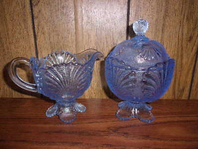 Light Blue Glass Creamer And Sugar With Shell Motif