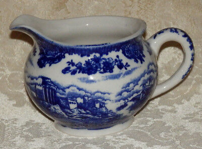 Vintage Flow Blue & White Cramer Pitcher Made In Japan Scenic Castle Pattern