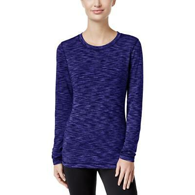 Ideology Womens Blue Fleece Layer Heathered Pullover Top Shirt XS BHFO 9781