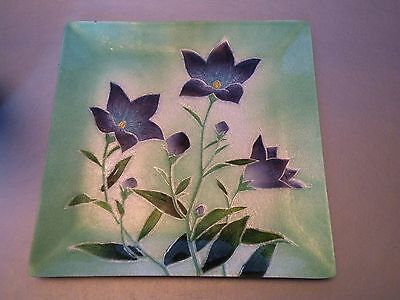 pax416 JAPANESE GINBARI ENAMEL OVER COPPER SQUARE PLATE, unsigned - midcentury