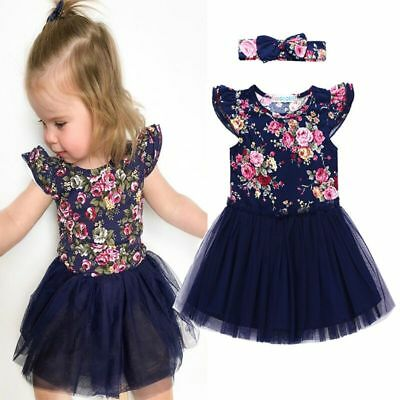 Newborn Toddler Baby Girl Clothes Floral Dress + Headband Kids Dress Outfit