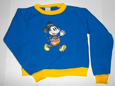 Vintage 60's/70's Disney Mickey Mouse Sweatshirt Kids Size 12 Puffy Blue/Yellow