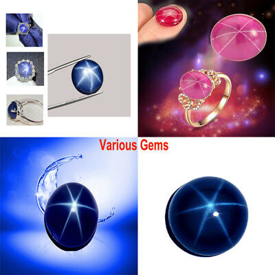 1pc Deep Blue Pink Oval 6 Rays Sharp Star Sapphire Cabochon Natural Loose Stone