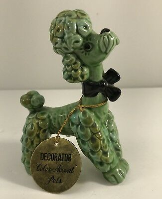 Vtg Enesco Poodle Dog Figurine  Green with Black Box Original Label  W2