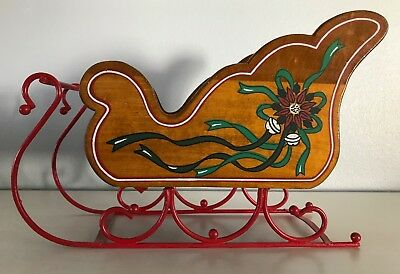 """Vintage Wood Christmas Sleigh with Metal Runners Decorative Card Holder 13.5"""""""