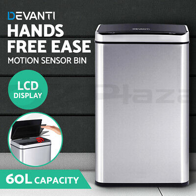 Devanti 60L Stainless Steel Auto Sensor Rubbish Bin Trash Can Touch Free LCD