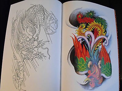 tattoo flash design book a3 dragons and phoenix nice book with lines 60 pages