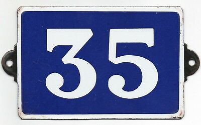 Old blue French house number 35 door gate plate plaque enamel metal sign steel