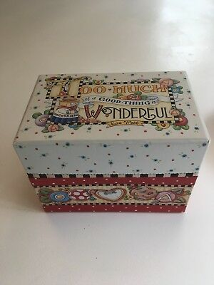 Mary Engelbreit Hinged Recipe Box W/cards & Dividers = Unused Cond