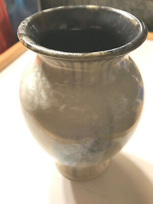 Edgecomb Potters Art Studio Vase Hand Made Pearl / Blue Glaze Maine