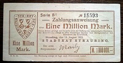 Straubing 1 Million Mark Stadt B 1  Papier blassgelb /orange ? vom 15.8.1923