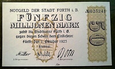 Fürth 50 Millionen Mark Stadt 1.10.1923 TOP!!!