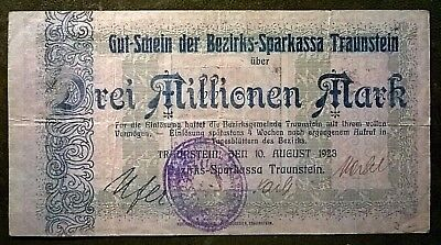 Traunstein  3 Million  Mark Bezirks- Sparkassa o. Wz.  10.8.1923