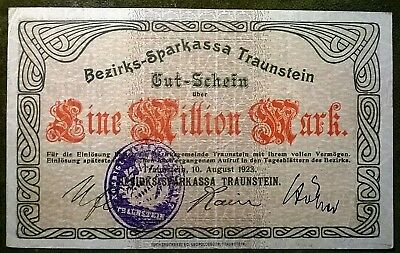 Traunstein 1 Million  Mark Bezirks- Sparkassa Wz. verschl. Kreise  10.8.1923