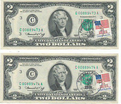 Us 1976 Two Dollar $2 Bill - Cancellation Stamp Uncirculated Consecutive 2 Notes