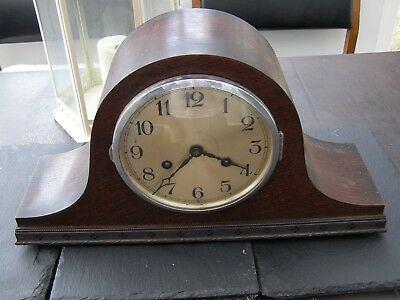 Antique / Vintage Oak Nepolian Hat Chiming   Mantle Clock