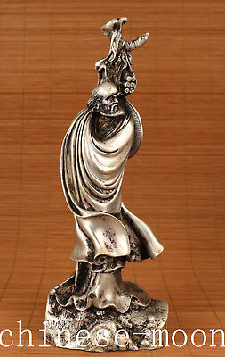 Big Chinese Old Copper tibet silver Bodhidharma Buddha damo Statue home decorat