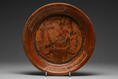 Important Pre-Columbian Maya Fineline Enthroned Dignitary Plate (500 AD) Museum