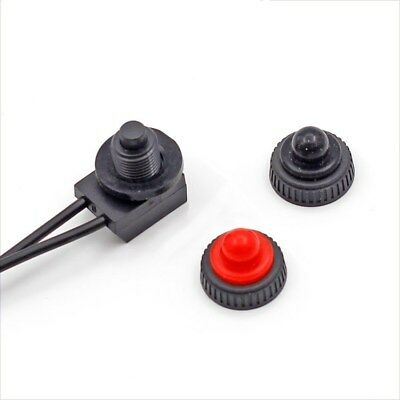 "12V Waterproof Push Button On-Off Switch With 4"" Lead Wire Black"