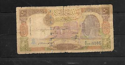 Syria #107 1998 50 Pounds Ag Used Old Banknote Paper Money Currency Bill Note