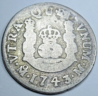 1743 Spanish Silver 1 Reales Piece of 8 Real US Colonial Pirate Treasure Coin