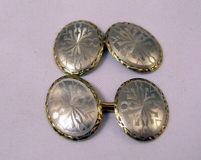 EARLY 20th CENTURY PLATINUM & 14K YELLOW GOLD CUFF LINKS