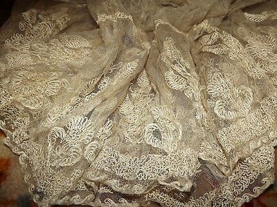 ANTIQUE VICTORIAN Embroidered Net Floral LACE SKIRT SALVAGE for Rework VINTAGE