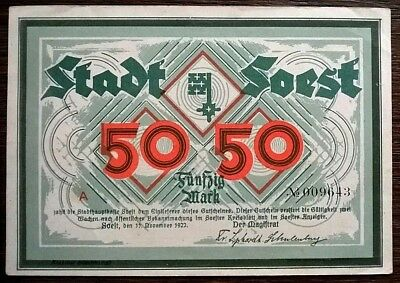 Soest 50 Mark Stadt Serie A vom 11.11.1922 TOP !!!