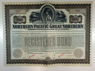 WI. MN. Northern Pacific-Great Northern Railway Co 1901 $1000 Specimen Gold Bond