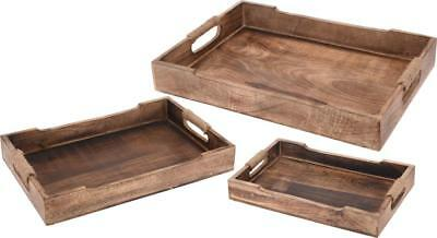 Mango Wood Wooden Rustic Rectangular Serving Tray
