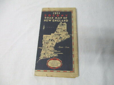 1931 Socony gasoline oil gas station road map--New England